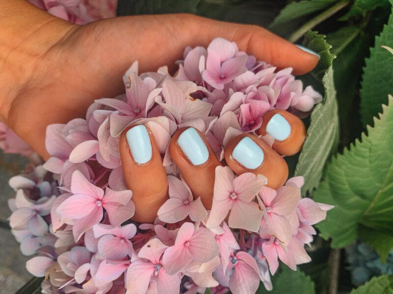 Pink Gellac baby blue